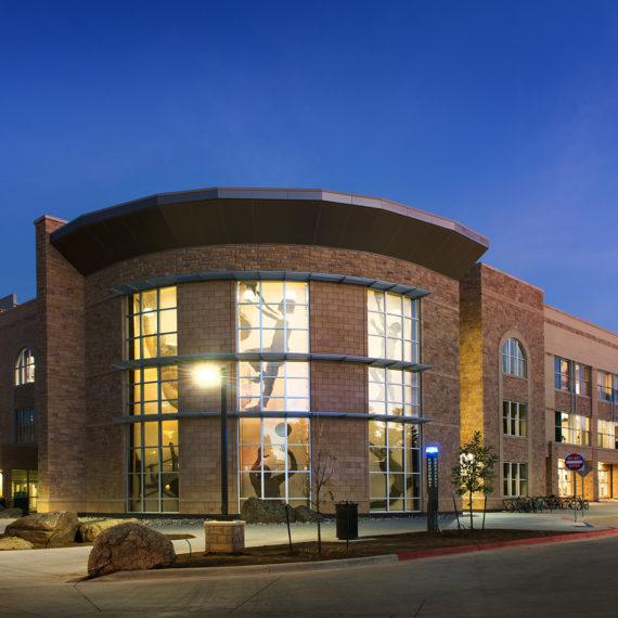 UW building exterior at dusk