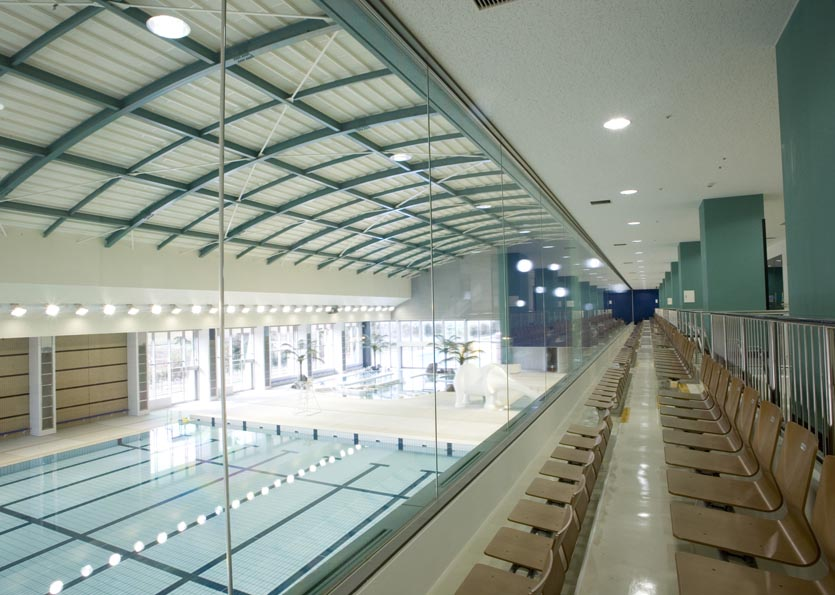 Upper level view of natatorium