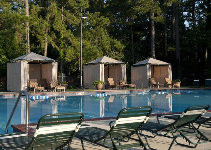 Outdoor pool and cabanas