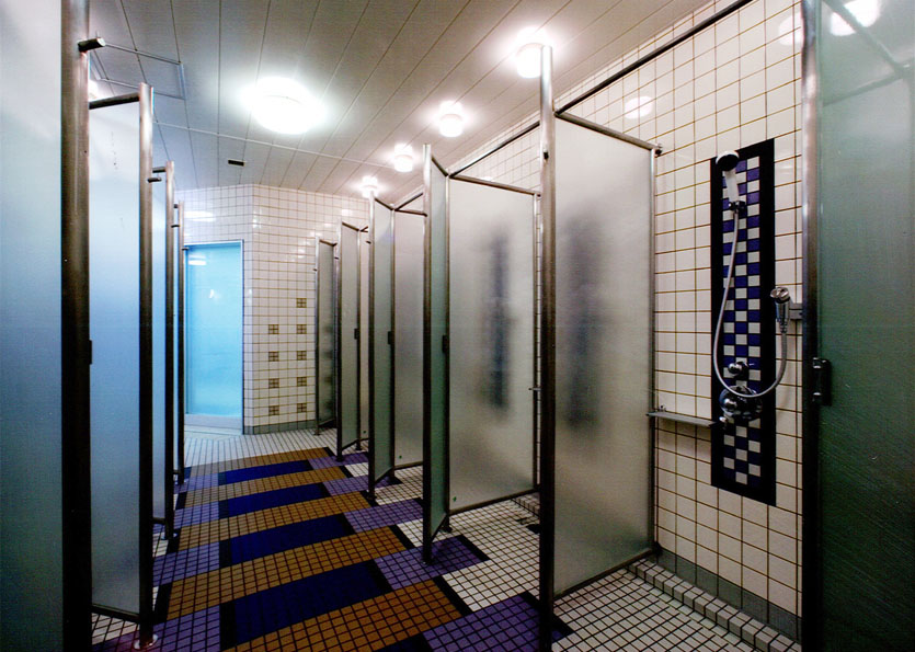 Locker room showers