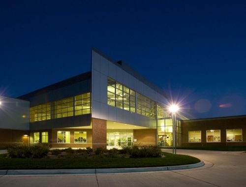 Night exterior building entrance
