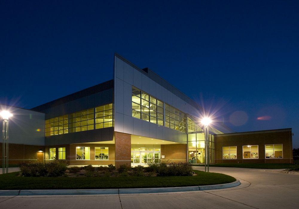 Night exterior building entrance
