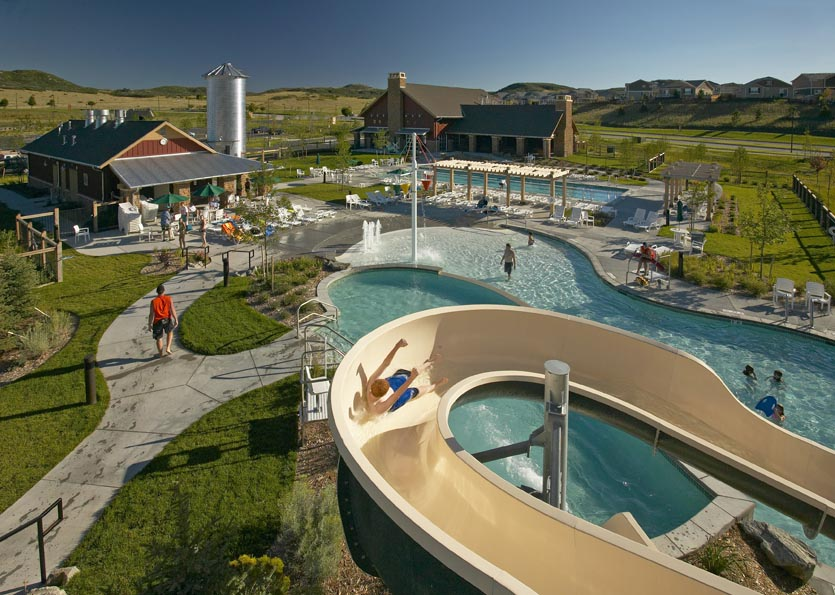Outdoor pools and slide