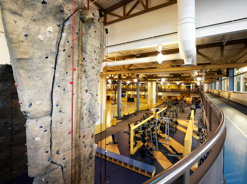 Rock wall, track and weights