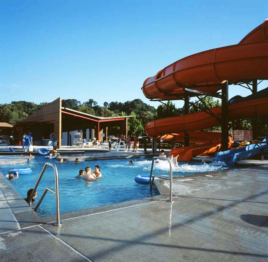 Outdoor pool and slides