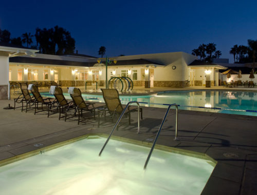 Night time pool and spa