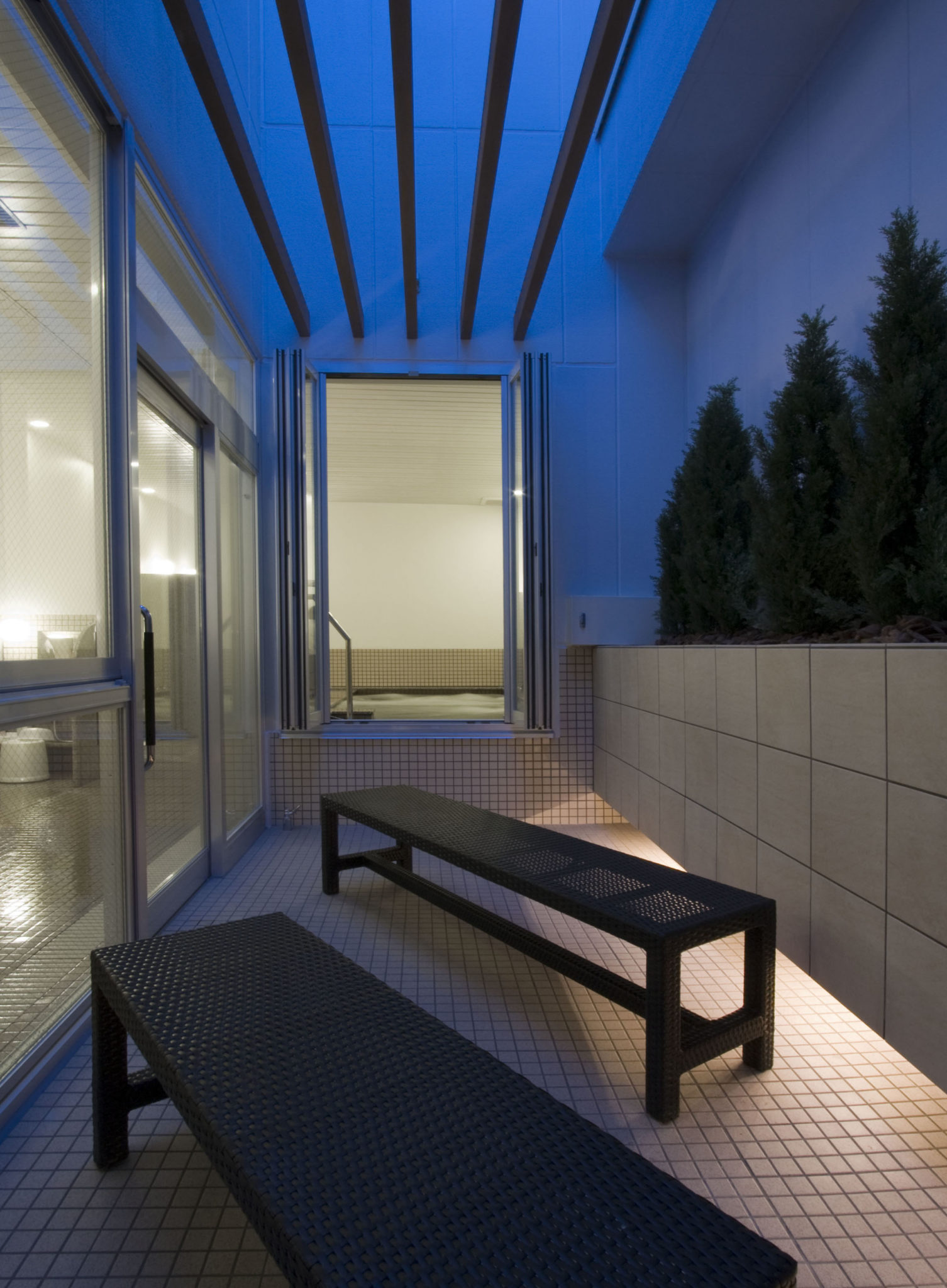 Outdoor seating and spa
