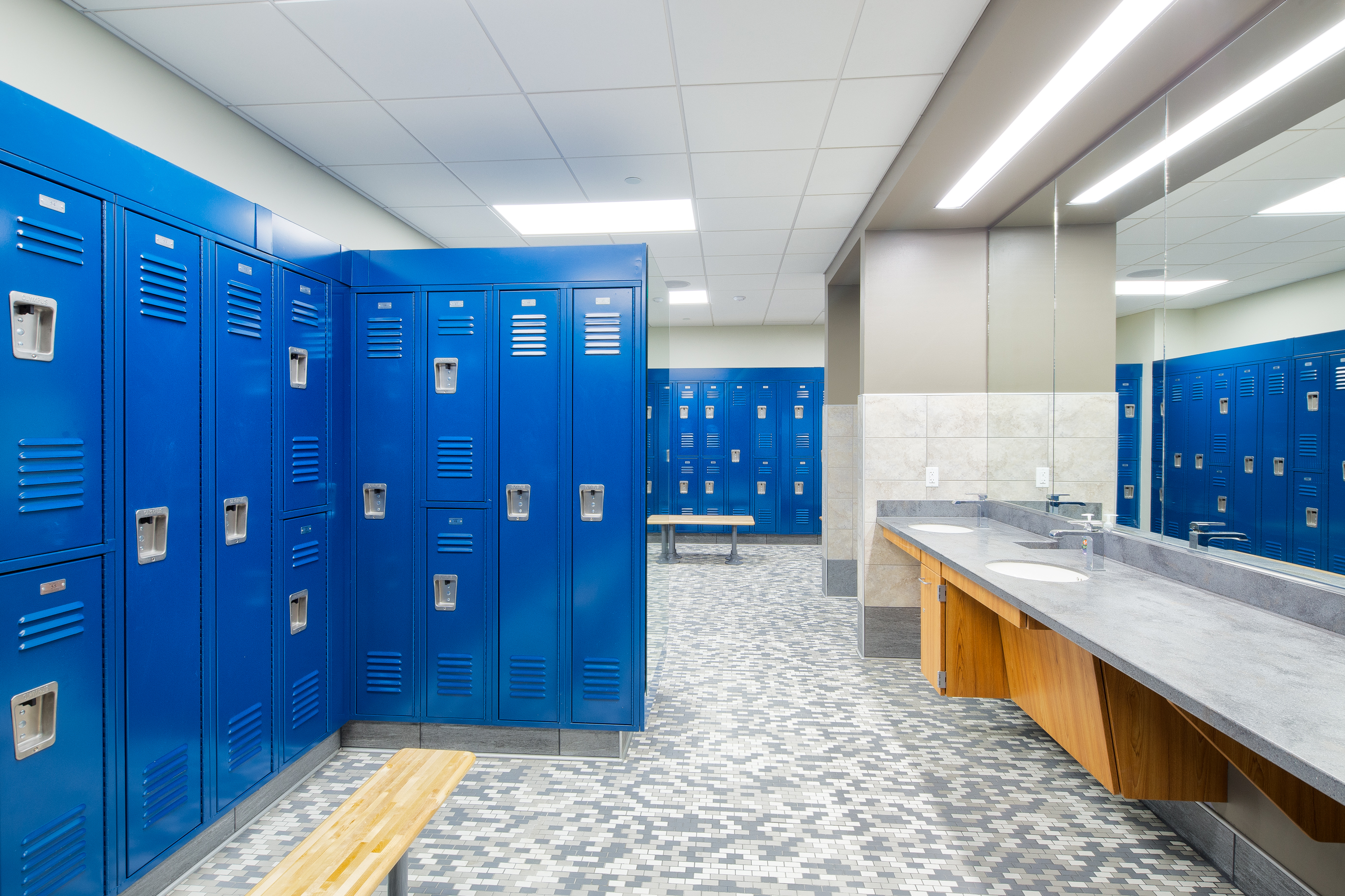 Energy Wellness Center locker room with blue lockers