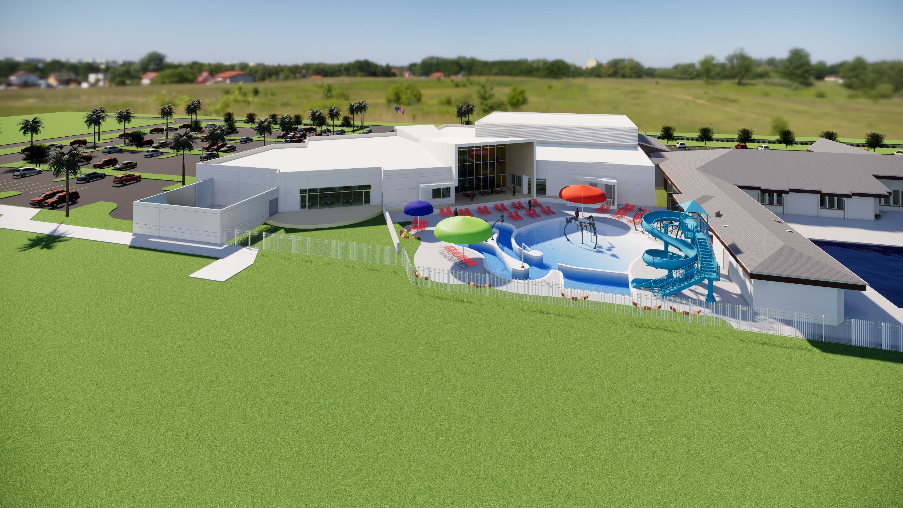 Dr. Ann Murphy Night STARS Complex Expansion Exterior Aerial view of pool