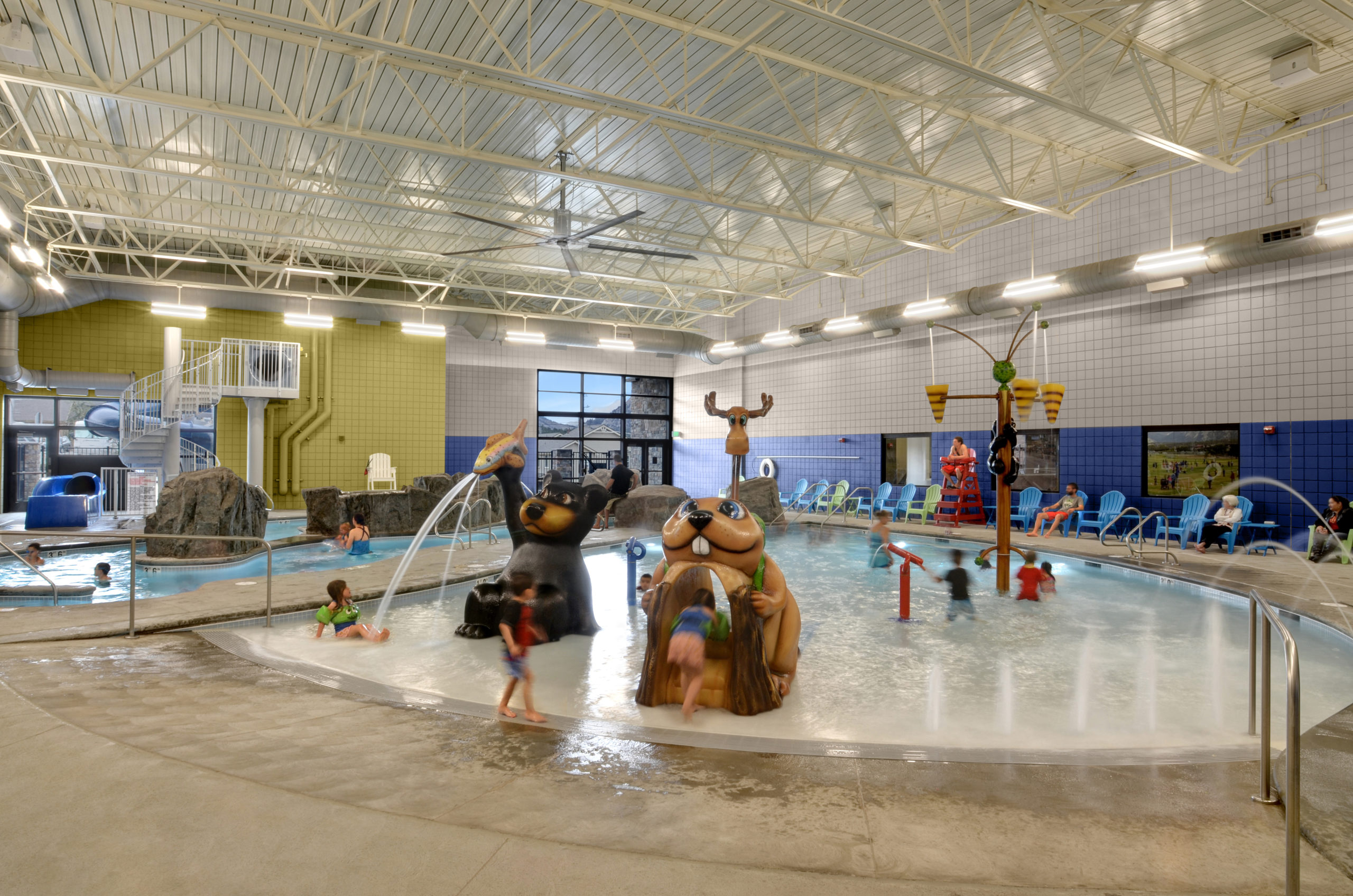 Estes Valley Community Center Kids pool with 'high country' themed critter water features