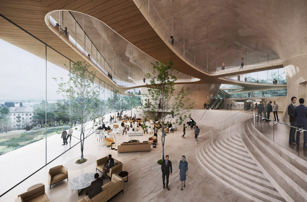 National COncert Hall Competition_Interior Seating Area with people mingling